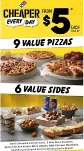 domino cuisine domino s 5 cheaper everyday menu with 9 pizzas 6 sides