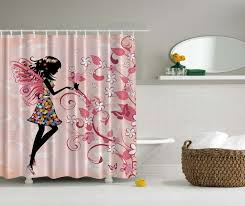 ambesonne fairy decor collection pink erflies and flowers beautiful glamour girl with colorful fl dress bathrooms decorbathroom