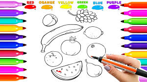 draw coloring pages for kidsdraw coloring fruit banana orange