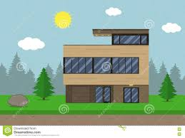 cottage house building flat design style modern house vector