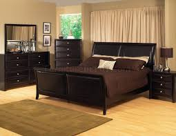 Ashley Bedroom Set With Leather Headboard Espresso Finish Transitional Bedroom Set W Bicast Inserts