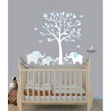 Tree Nursery Wall Decal Baby Blue Tree Wall Decals With Elephant Stickers For Nursery