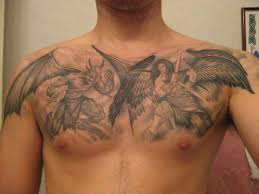 thigh tattoos demons peacock bird arts fighting design idea for