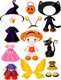 paper doll with three dresses for halloween party royalty free
