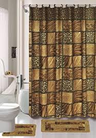 Bath Sets With Shower Curtains Amazon Com Brown Safari 15 Piece Bathroom Set Animal Print Bath