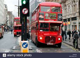 red london bus oxford street west end central london uk stock