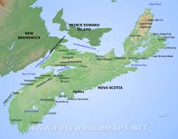 North America Physical Map Physical Map Of Nova Scotia