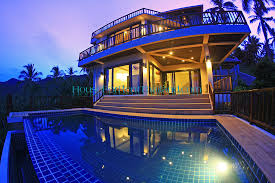 3 story houses cha0845 luxury 3 storey pool seaview villa in chaweng samui