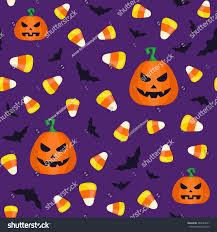 green repeating halloween background seamless halloween pattern candy corns pumpkins stock vector