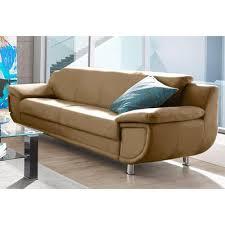 revetement canapé canapé 3 places en revêtement synthétique et tissu chiné marron