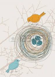 two birds and nest with eggs royalty free cliparts vectors and