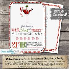 christmas cocktail party invitations retro santa christmas cocktail party invitation