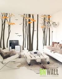 Tree Wall Decals For Living Room White Tree Decal Deer Tree Wall Sticker Forest Tree Decals For