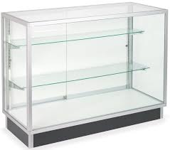 merchandise display case glass laminate door cabinets four foot wide display cases