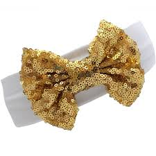 bow headbands white gold sequin bow headband