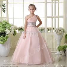 dresses for 11 year olds graduation hot sale gown one shoulder rhinestones organza flower