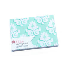 blank mint damask note card set bloom daily planners