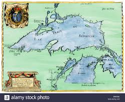 Map Of Upper Michigan by French Jesuit Map Of Lake Superior Upper Michigan And Wisconsin
