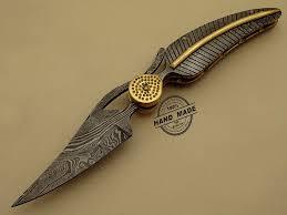 custom handmade damascus steel hunting pocket knife professional