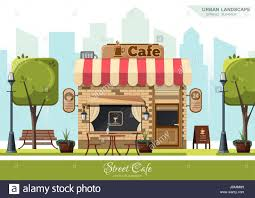 street cafe flat design concept stock vector art u0026 illustration