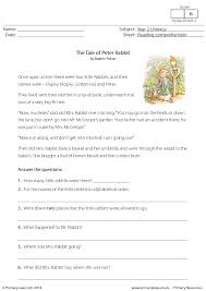 reading comprehension the tale of peter rabbit reading