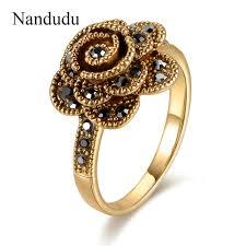 beautiful girl rings images Nandudu flash sale beautiful flower rose rings size 6 7 8 9 on jpg