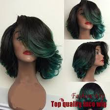 pictures of black ombre body wave curls bob hairstyles fashion ombre dark green body wave short bob synthetic lace front