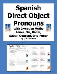 spanish direct and indirect object pronoun worksheet pronoun