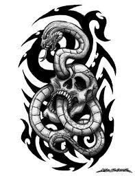 skull snake tattoo design by muddygreen on deviantart