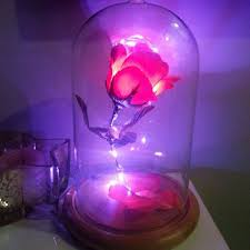 beauty and the beast light up rose decorative candy jar from pbteen