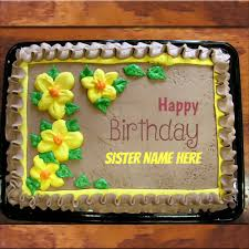 write name on awesome flower birthday cake birthday cards with