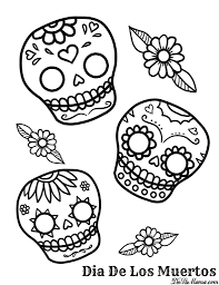 simple candy skull coloring pages