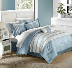luxury bedding collection 7 piece comforter set queen blue