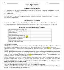 loan contract template u2013 26 examples in word pdf free