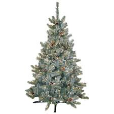 pre lit artificial christmas trees general foam 4 5 ft pre lit siberian frosted pine artificial