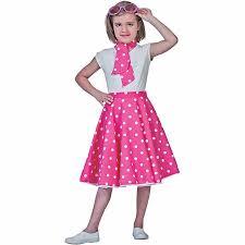 Halloween Costume Polka Dot Dress Pink Sock Hop Skirt Child Halloween Costume Walmart