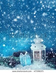 snow decoration christmas decoration lantern snow fir tree stock photo 476542132