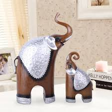 2pcs set resin crafts thai lucky elephant ornaments living room