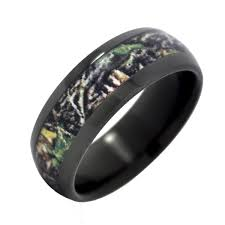 camo mens wedding band fable designs black zirconium with mossy oak new up