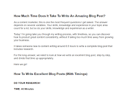 long should you spend writing a blog post