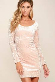 blush pink dress velvet dress bodycon dress 39 00