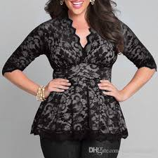 2018 plus size lace blouses for 3 4 sleeve 2017