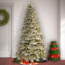 the aisle snowy frosted green fir artificial tree