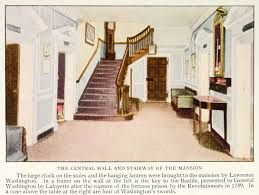 1928 color print mount vernon interior stairway central hall