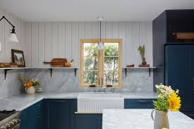 shiplap kitchen backsplash with cabinets kitchen with blue cabinets and white shiplap hgtv