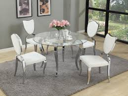 Silver Dining Chairs Furniture Clear Glass Round Dining Table Set With White Chairs