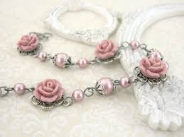 rose pearl bracelet images Powder pink swarovski pearl bracelet with resin roses dusty pink jpg
