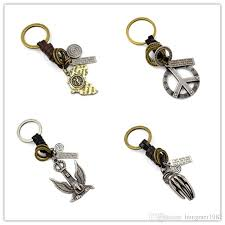 jewelry key rings images 2018 mens genuine leather weave key rings vintage alloy maple leaf jpg
