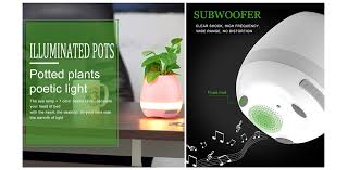 tokqi smart flower pot led colorful night light touch music plant