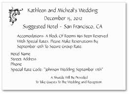 wedding registry inserts wording to use when giving out room block information to out of